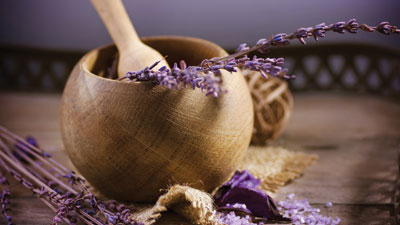 Lavender in wooden bowl
