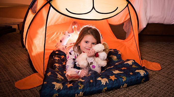 Family Fun animal tent with girl in it